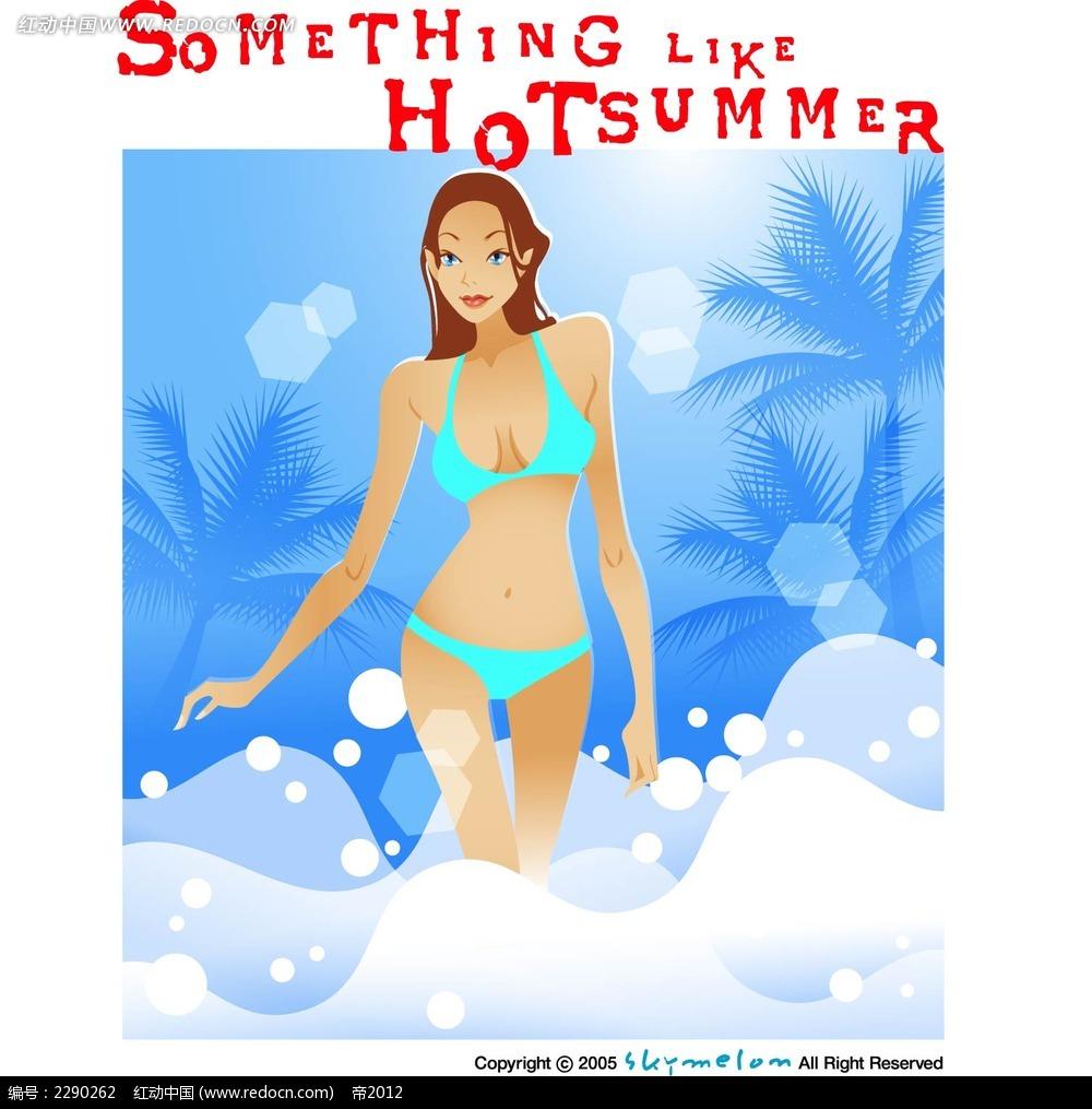 绿色泳装女子卡通手绘