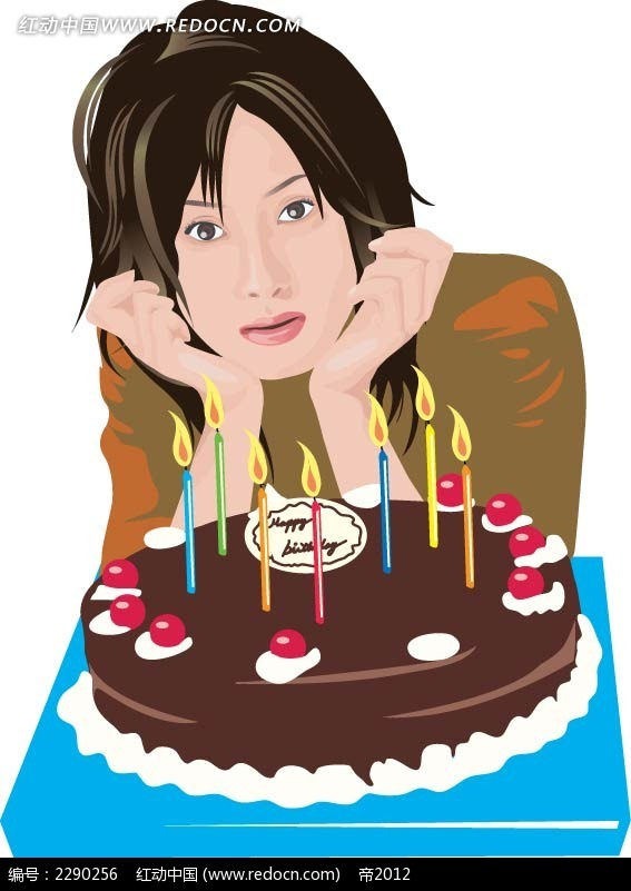 蛋糕和女子卡通手绘