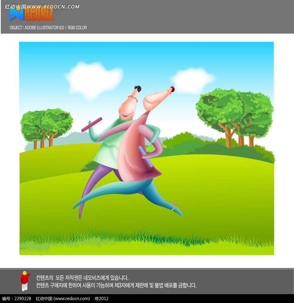 奔跑的男子卡通手绘