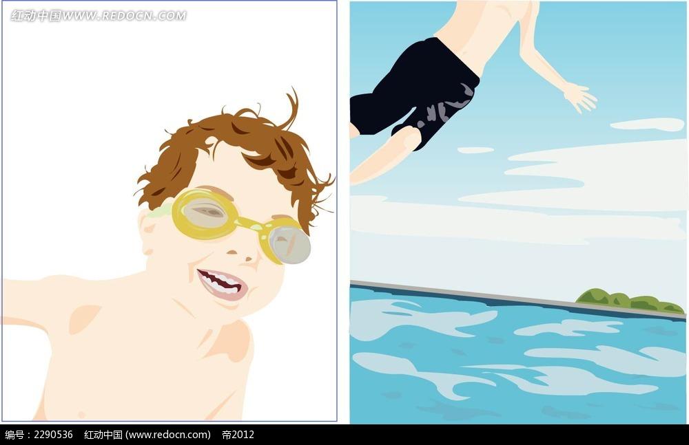 儿童游泳人物插画
