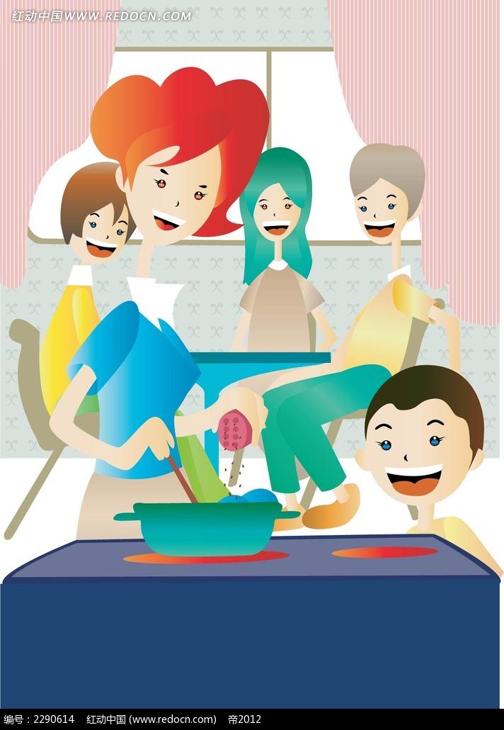 十二生肖月历 卡通家庭生活插图