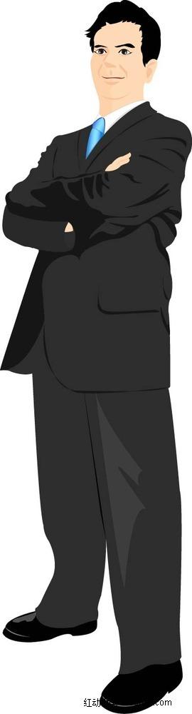 抱着双臂的西装男子卡通手绘