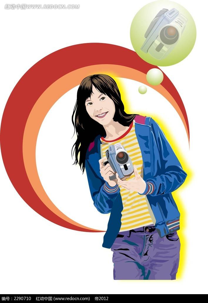 拿着相机的女子卡通手绘AI素材免费下载 红动网
