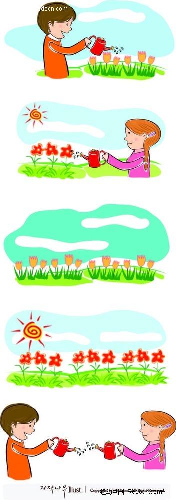 浇花的男孩女孩卡通手绘