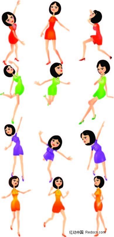 跳舞的女孩卡通手绘