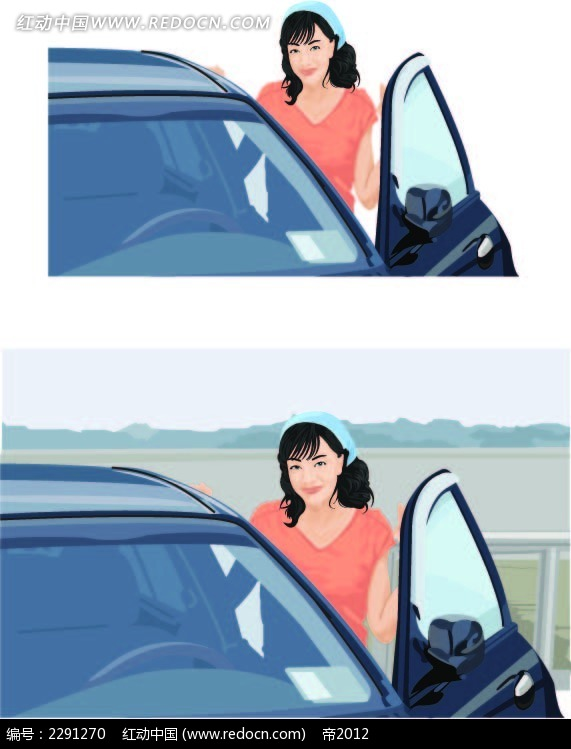 汽车和美女卡通手绘