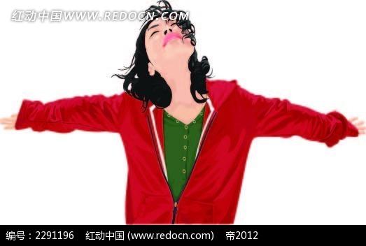 张开双臂的红衣女子卡通手绘