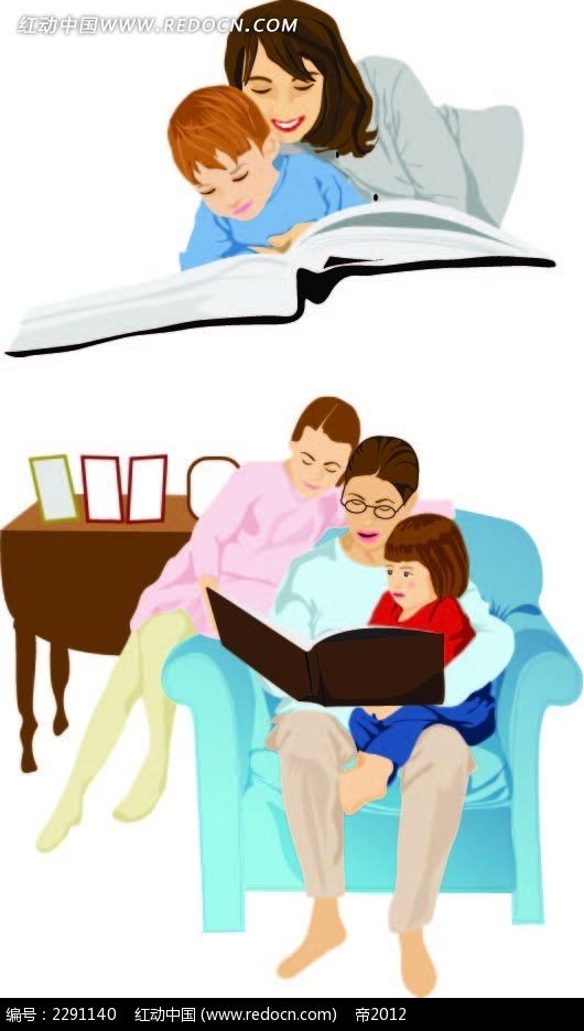 母亲和孩子卡通手绘图片