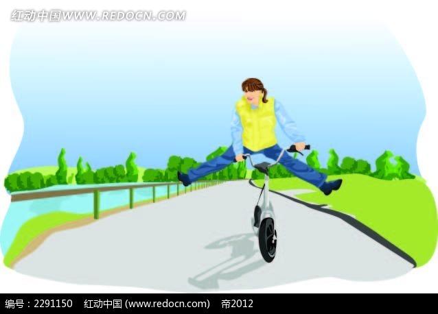 骑车的男子卡通手绘