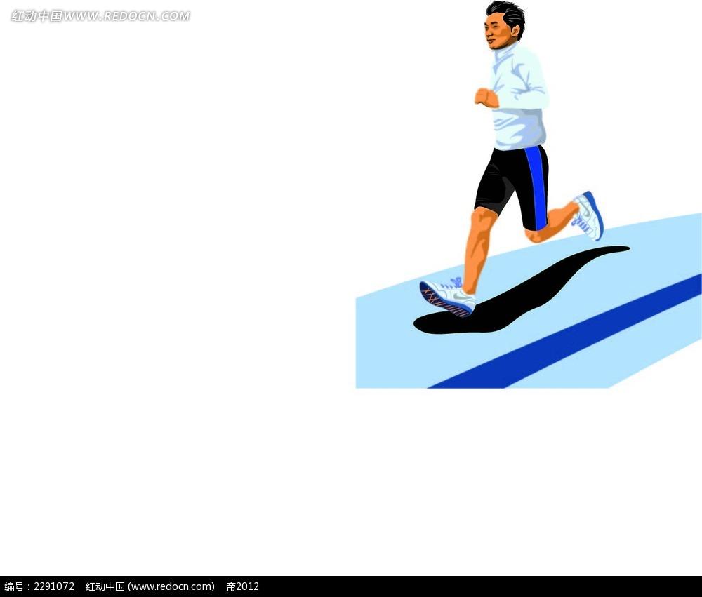跑步的男子卡通手绘