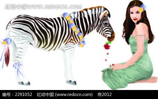 斑马和美女卡通手绘