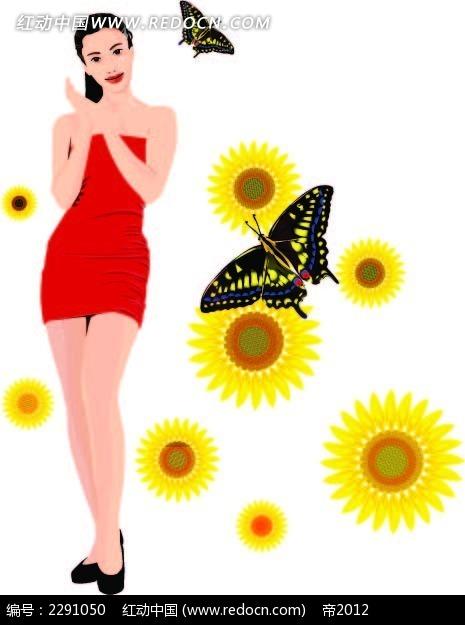 花朵蝴蝶和美女卡通手绘
