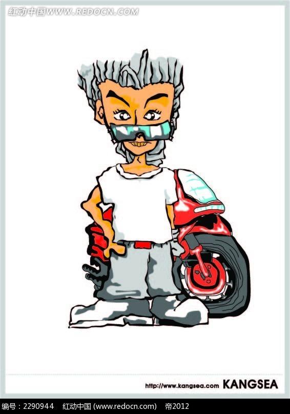 摩托车和男子卡通手绘