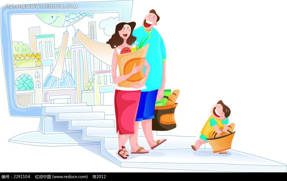 购物的一家人卡通手绘