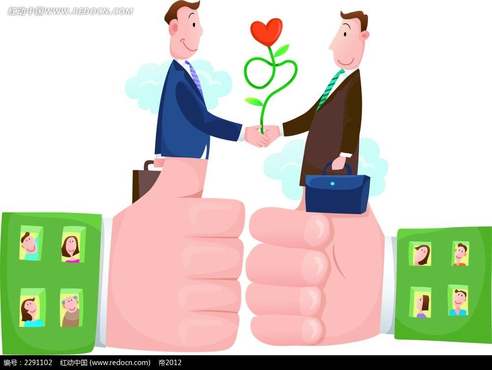 手和商务男子卡通手绘