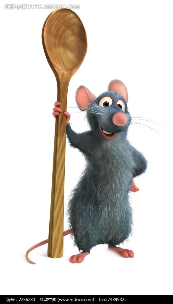 免费素材 图片素材 漫画插画 动物 手扶关勺子的小老鼠