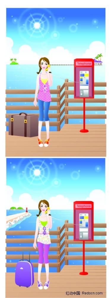 女孩和行李箱卡通手绘