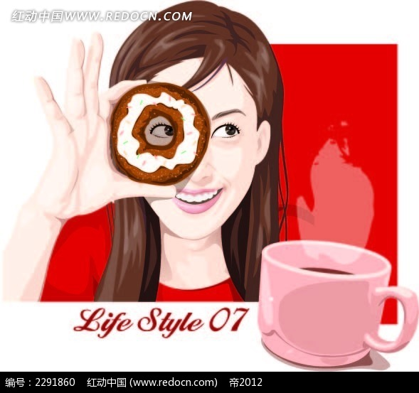 咖啡饼干和美女卡通手绘