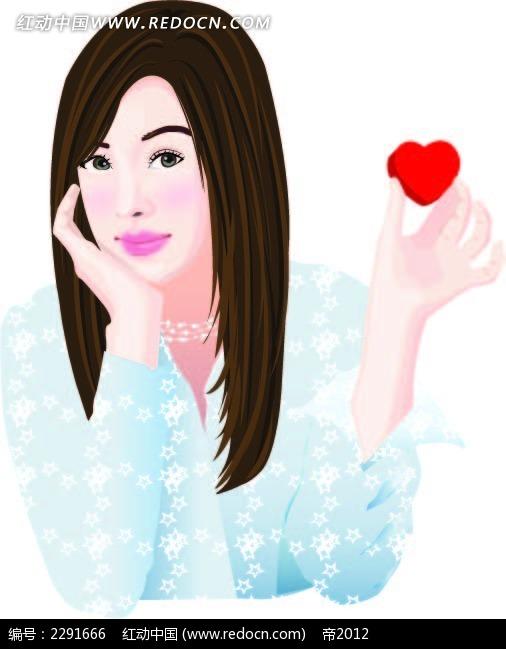 长发美女和心形卡通手绘