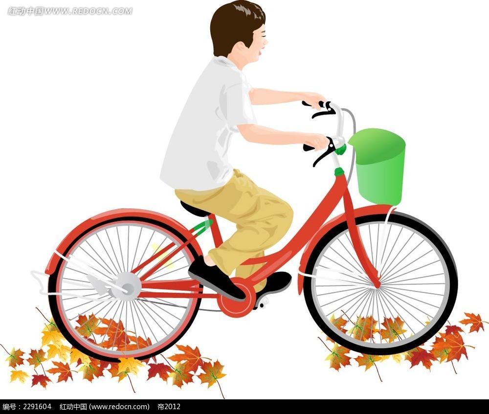自行车和男子卡通手绘