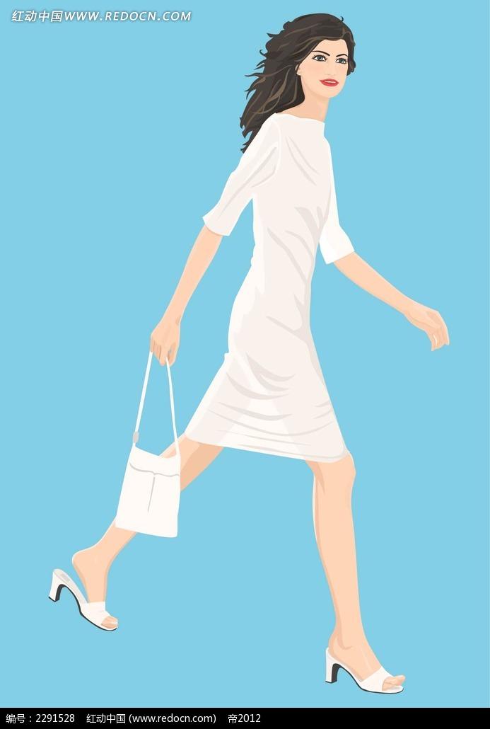 白裙美女卡通手绘ai素材免费下载(编号2291528)_红动网