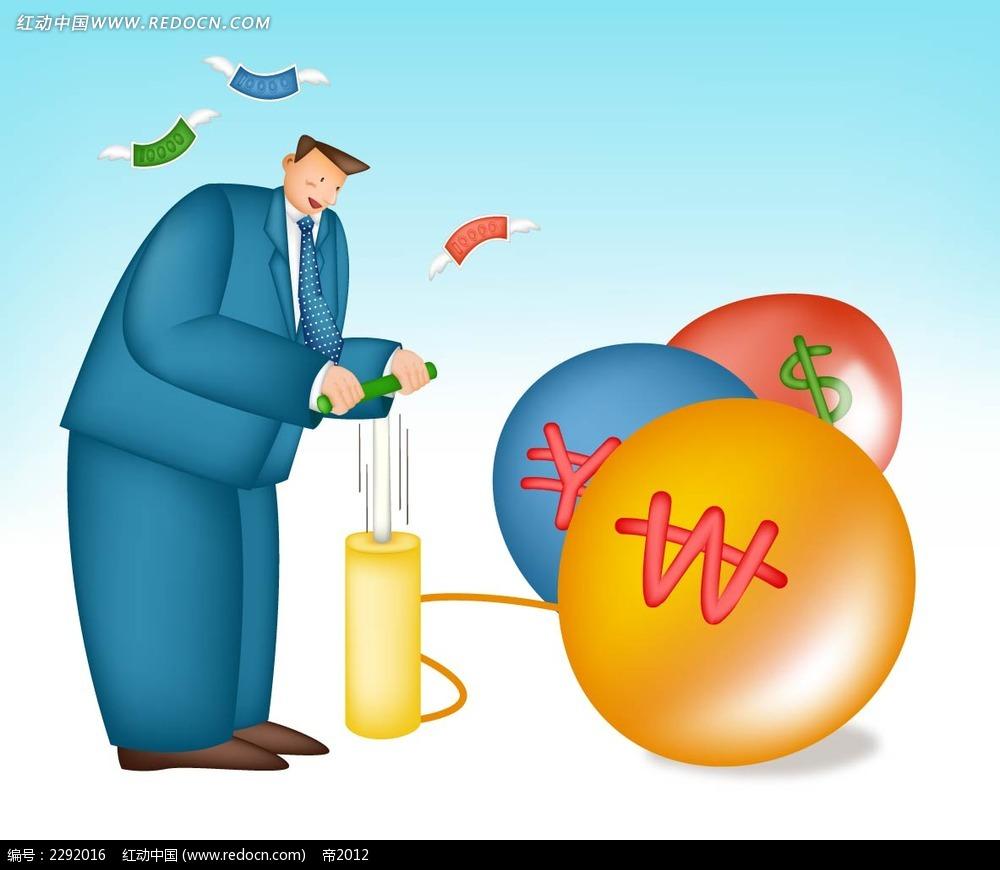 商务男子和气球卡通手绘ai素材免费下载_红动网