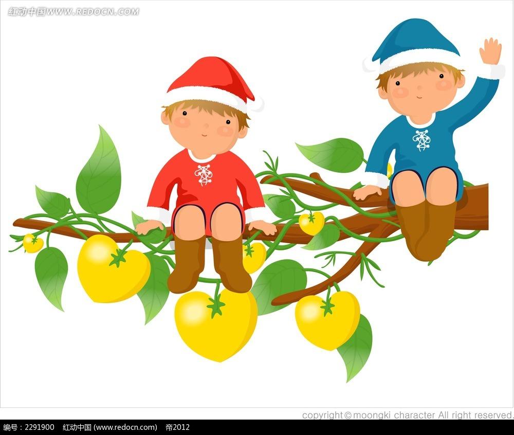树枝和小孩卡通手绘