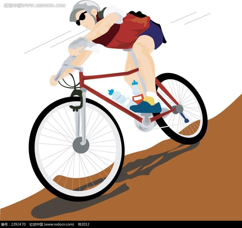 骑单车的男人卡通矢量人物插画