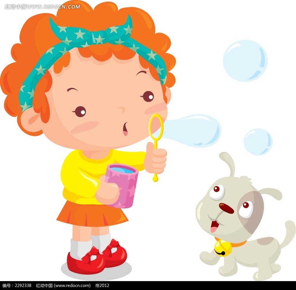 吹泡泡的小女孩时尚矢量人物插画