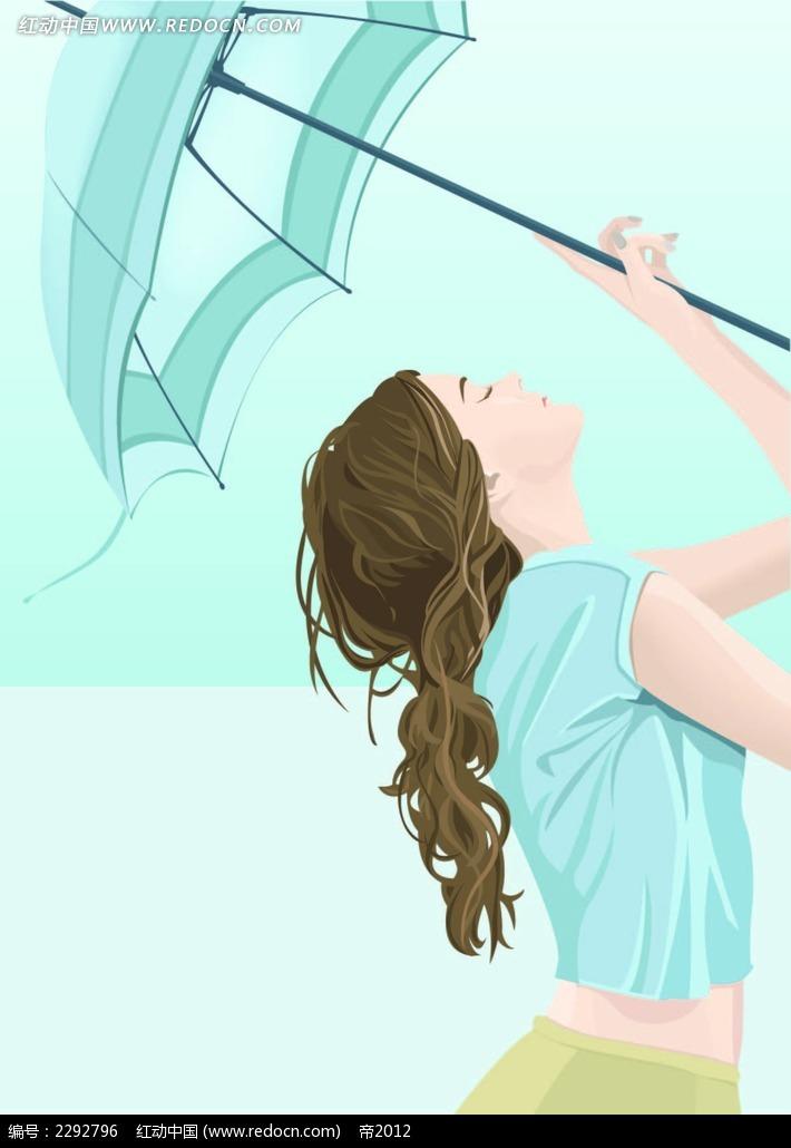 韩国撑伞少女人物插图