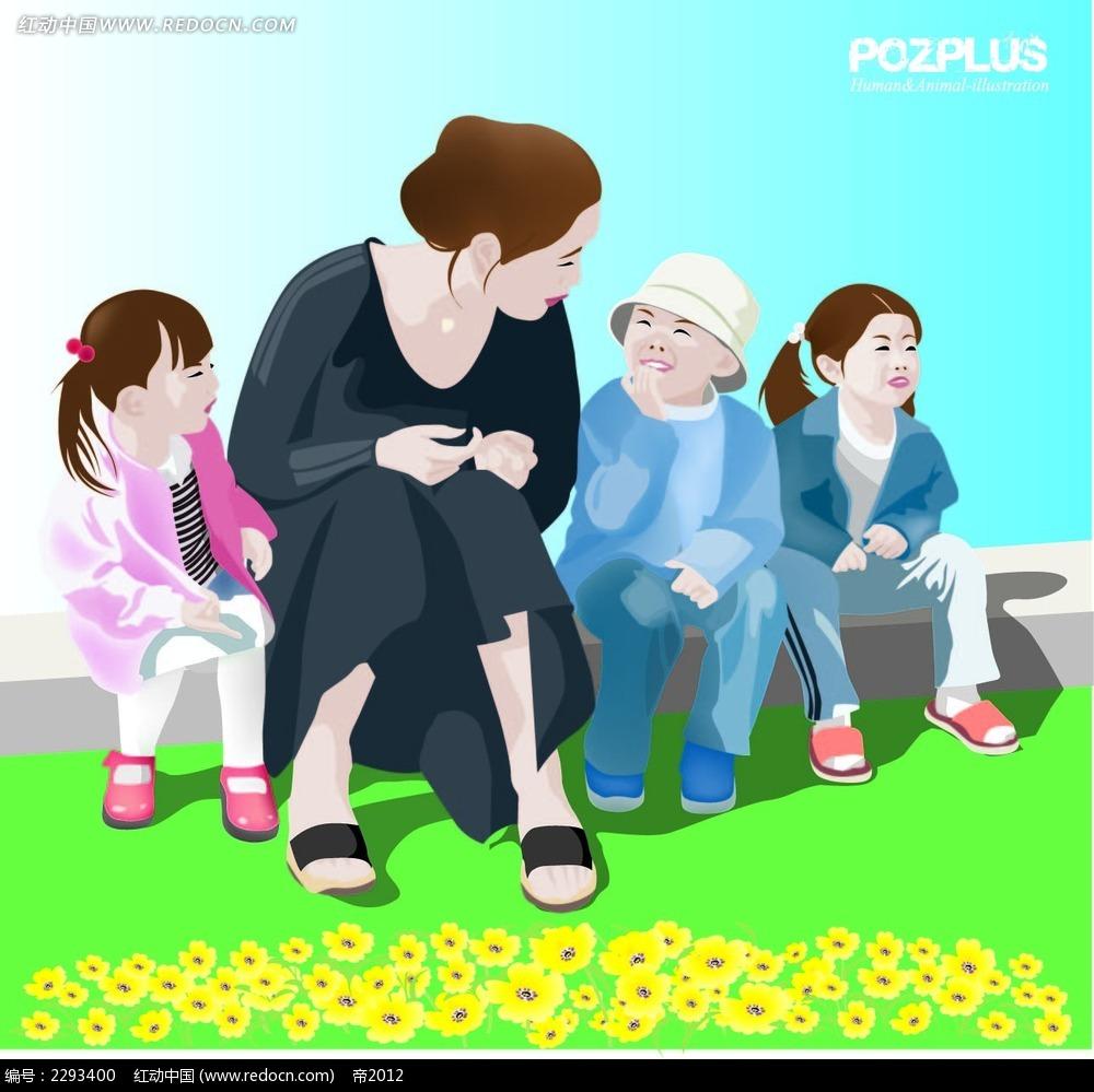 老师和小孩子聊天韩国矢量人物插画矢量图