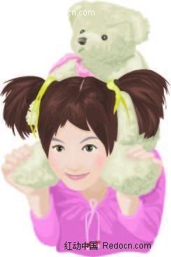 手绘可爱小女孩和熊宝宝韩国插画