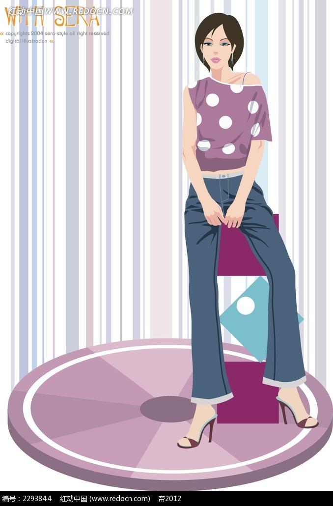 站立的短发女卡通矢量人物插画