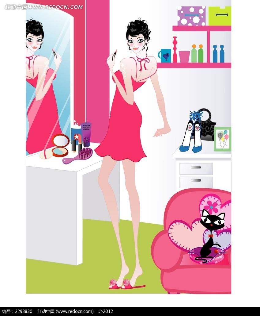 照镜子的女孩子韩国插画矢量图ai免费下载_卡通形象