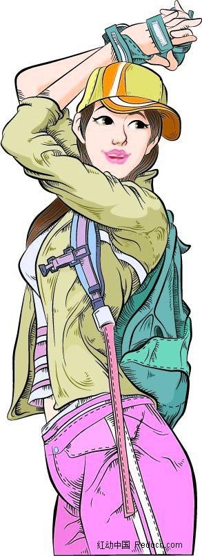 背包少女卡通手绘
