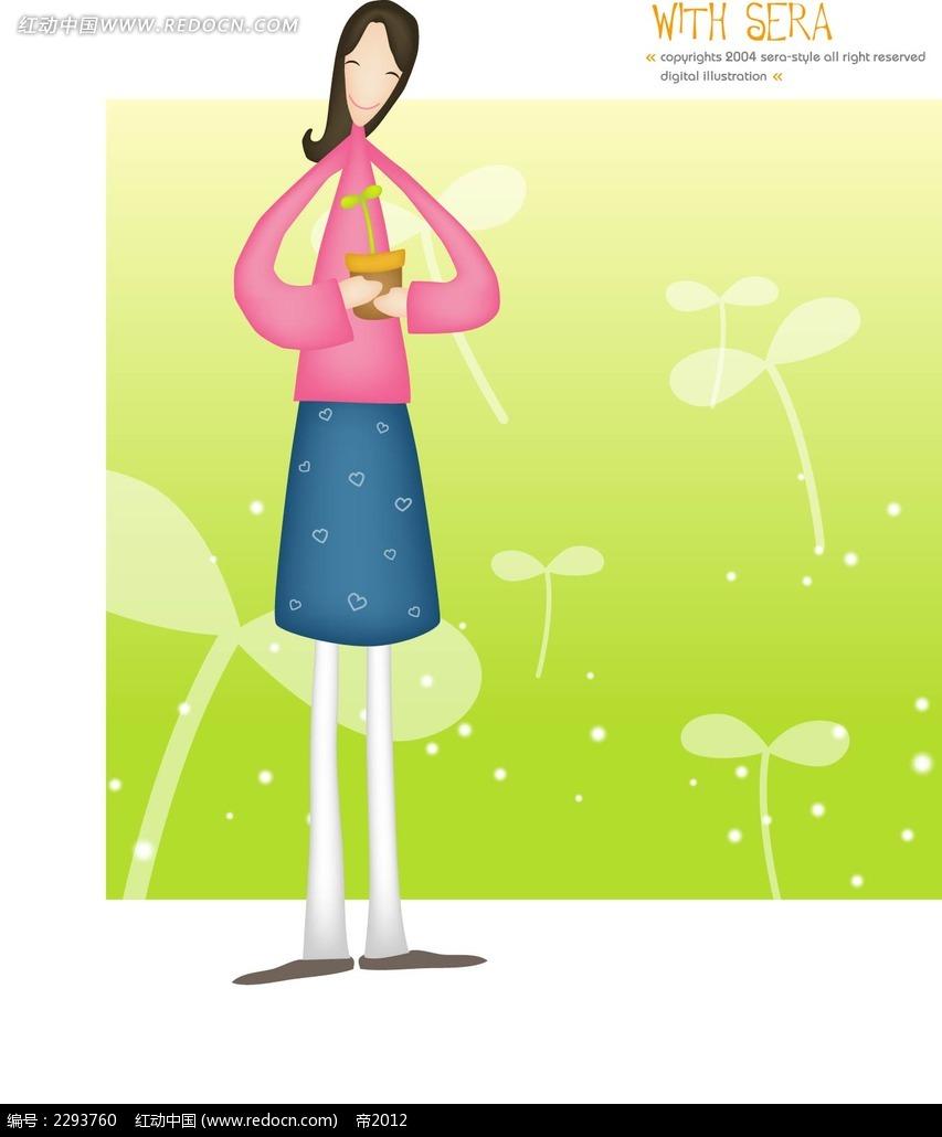 花盆和女孩卡通手绘