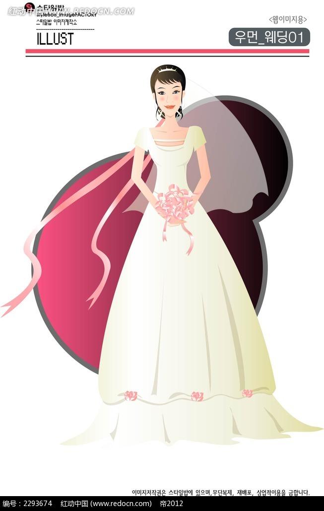 婚纱美女卡通手绘图片