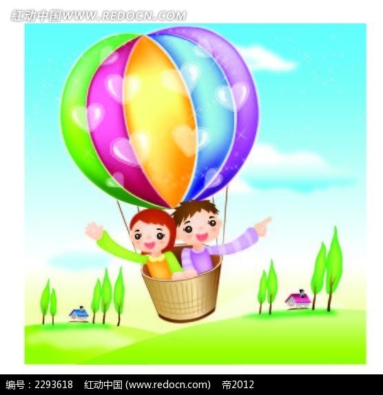 热气球和小孩卡通手绘