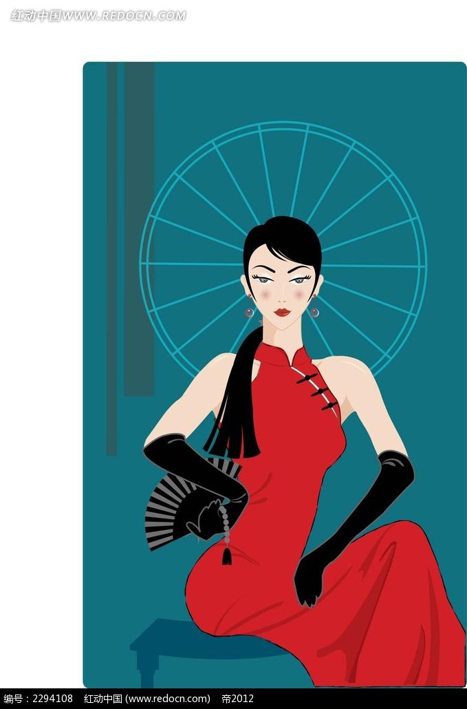 旗袍美女插图图片