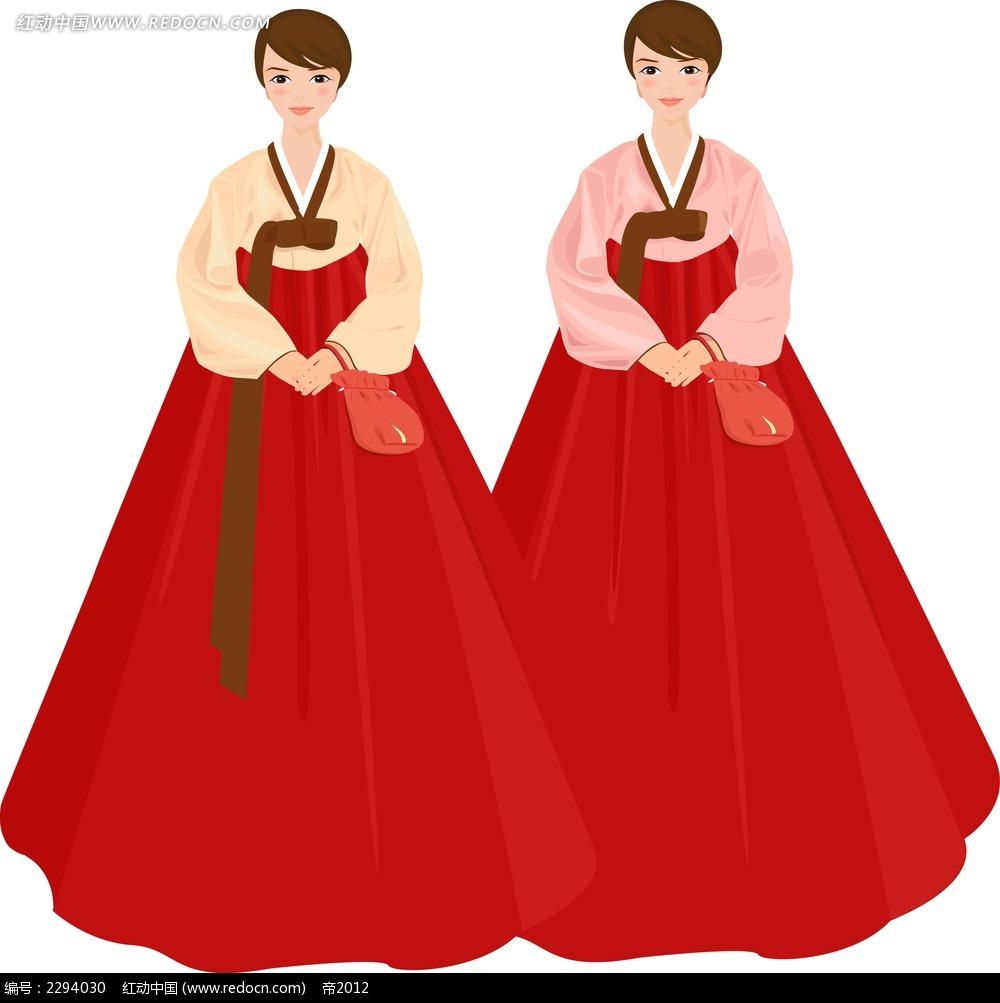 矢量韩服人物韩国漫画古装漫画矢量图少女人物手v矢量红色图片