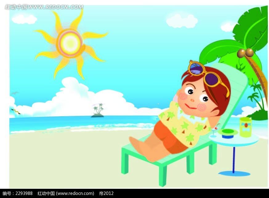 晒太阳的女孩子韩国人物插画矢量图ai免费下载