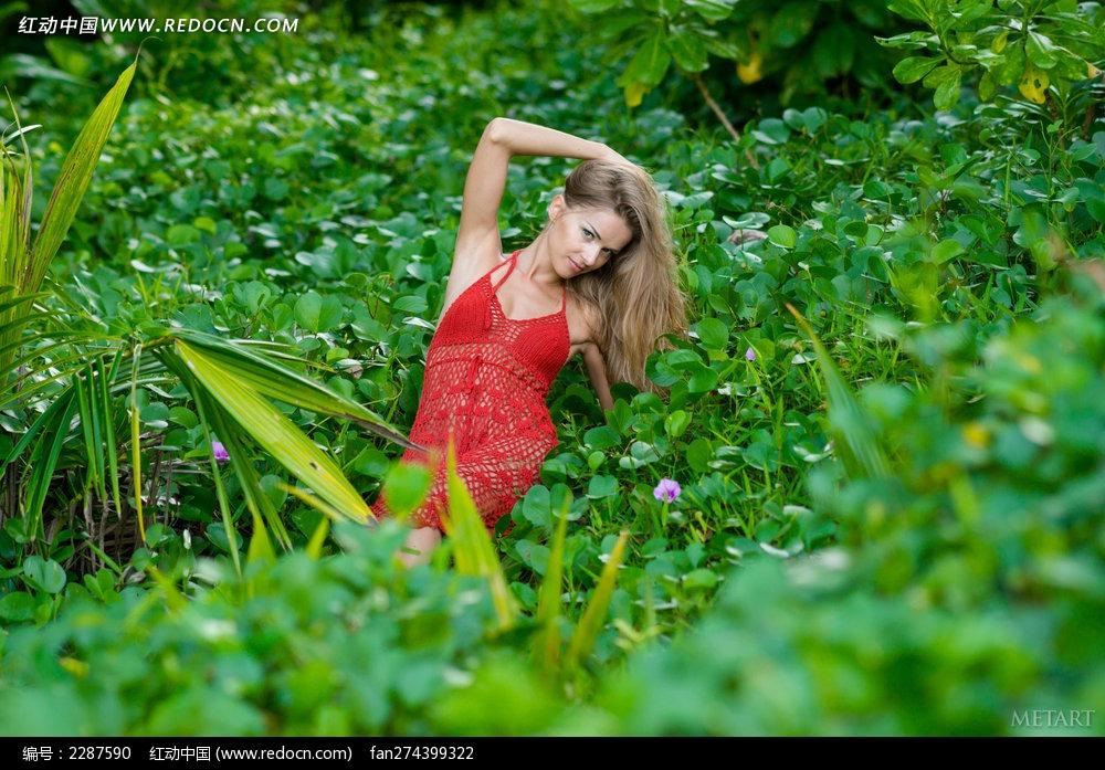 坐在草丛中的外国红裙美女