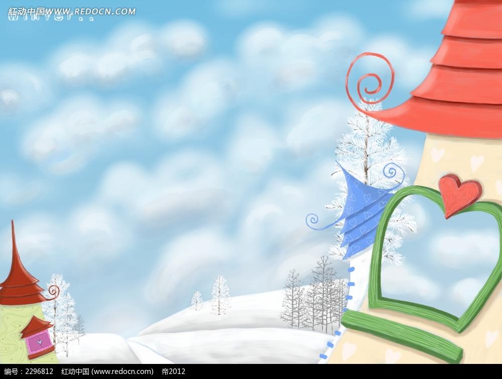 冬天雪景卡通房子图片免费下载 红动网