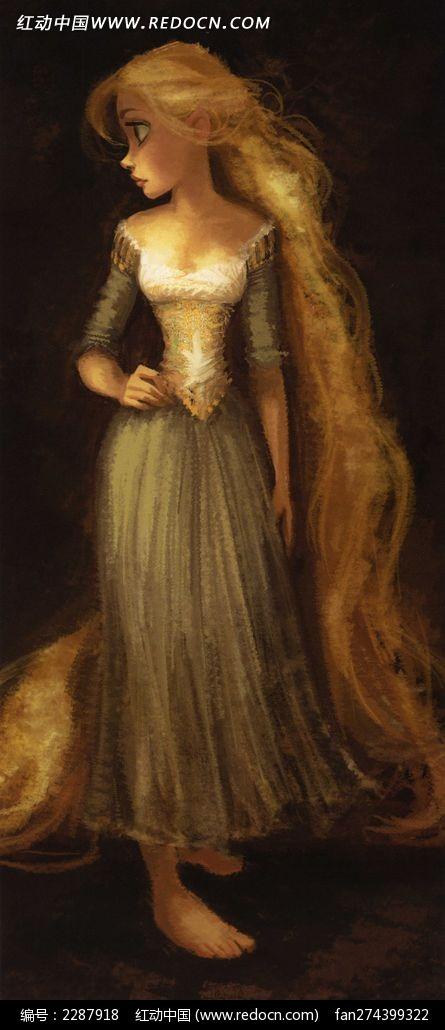 美女 长发/油画版的长发美女公主