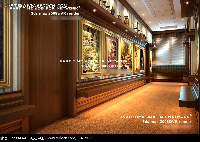 木质走廊壁画效果图3dmax素材免费下载 编号2299444 红动网图片