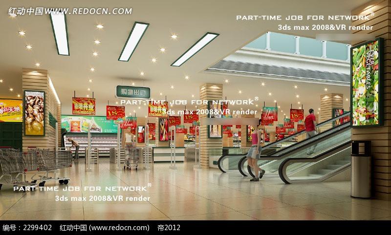 商场电梯大厅效果图3dmax免费下载 室内设计素材高清图片