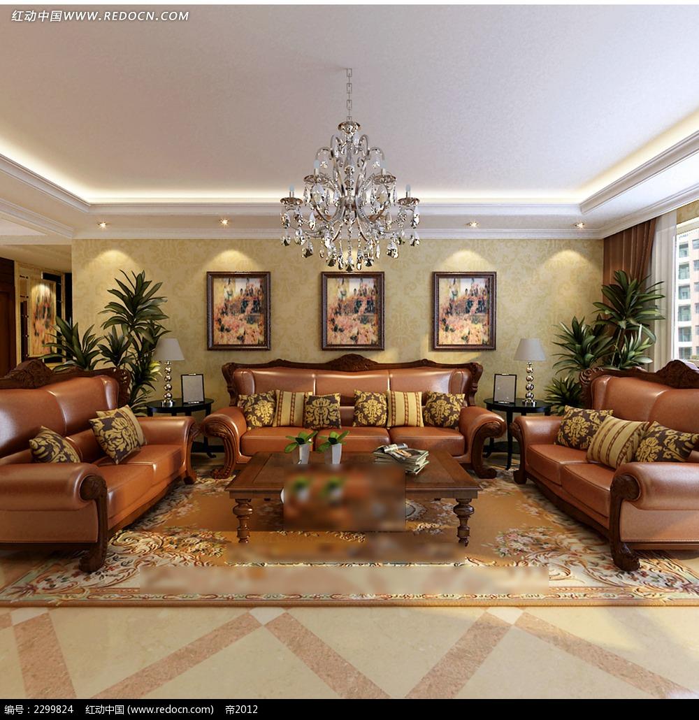 别墅客厅装修效果图_室内设计