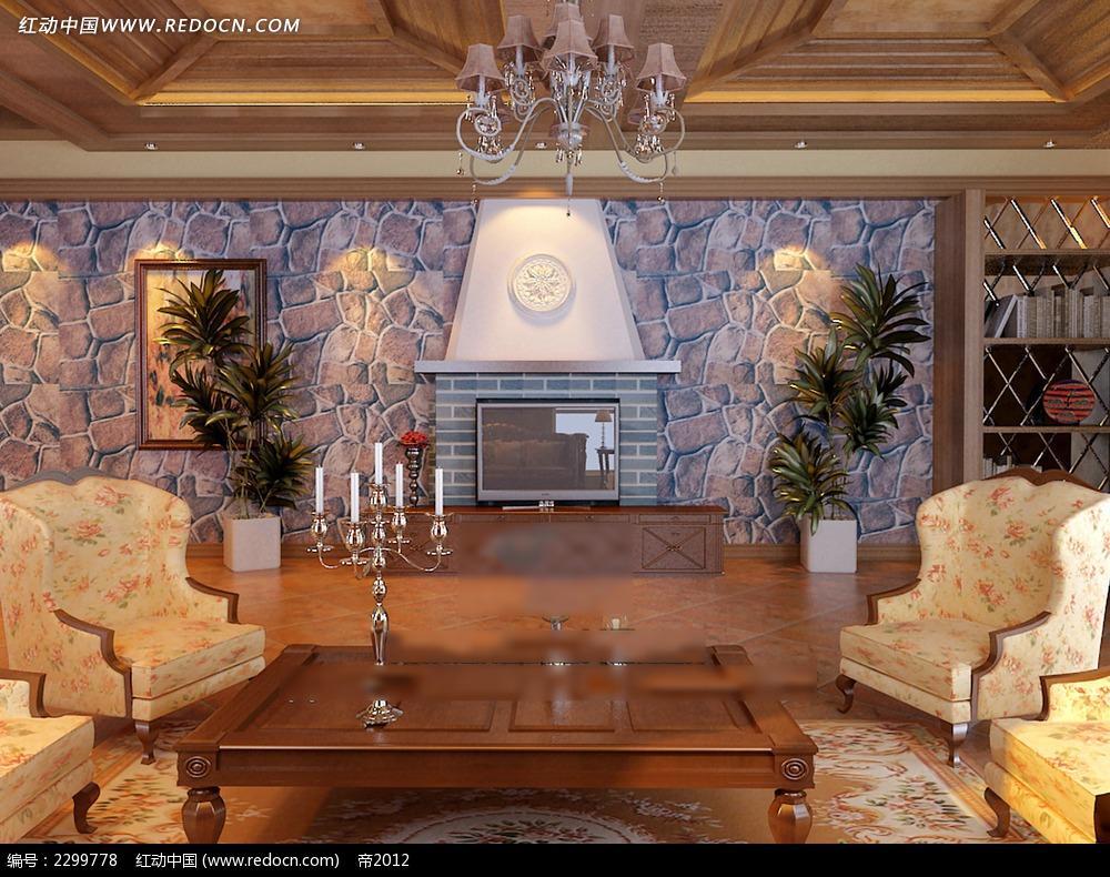 欧式壁炉饭厅效果图图片
