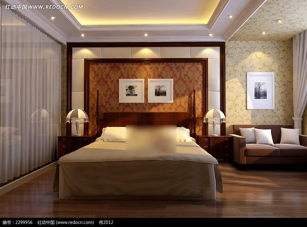 豪华欧式卧室效果图床 装修图满多