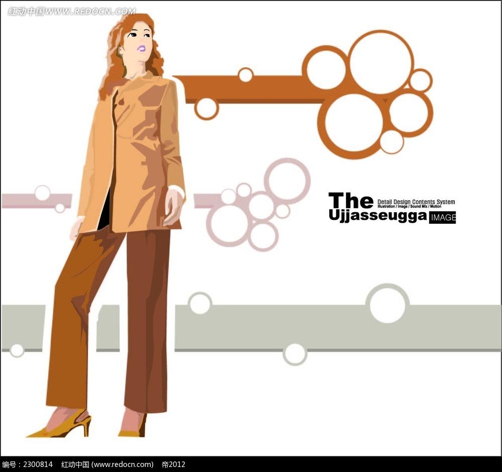 职业装女性人物插图
